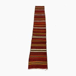 Vintage Turkish Red and Gold Narrow Kilim Runner Rug, 1960s