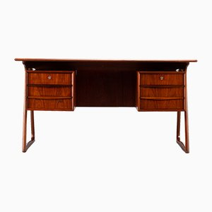 Mid-Century Modern Danish Teak Freestanding Desk with Delta Base Attributed to Sibast, 1960s