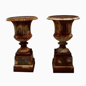 Victorian Cast Iron Garden Urns, Set of 2