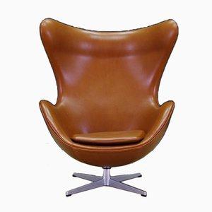 Dänischer Leder Armlehnstuhl von Arne Jacobsen für Fritz Hansen, 1960er