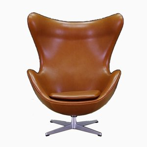 Poltrona in pelle di Arne Jacobsen per Fritz Hansen, Danimarca, anni '60