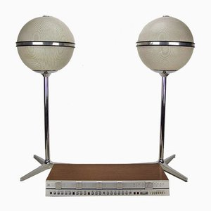 Beyondater 3000-2, 2 Grundig Audiorama 7000 y altavoz esférico en base de 3 estrellas de Jacob Jensen para B & O, años 70. Juego de 3