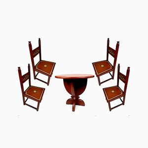 Art Deco Hand-Painted Dining Table & Chairs Set, 1920s