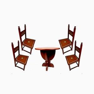 Handbemalter Art Deco Esstisch & Stühle, 1920er
