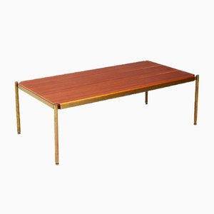 Tavolino da caffè Mid-Century in ottone e legno di Osvaldo Borsani per Tecno, anni '50