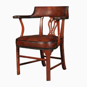 Hand-Dyed Leather Desk Chair, 1920s