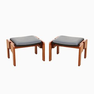 Teak & Faux Leather Stools, 1960s, Set of 2