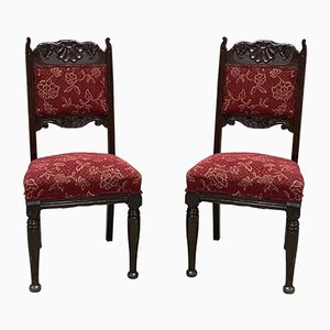 English Art Nouveau Oak Dining Chairs, Set of 2