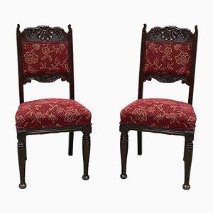English Art Nouveau Oak Dining Chairs, Set of 2