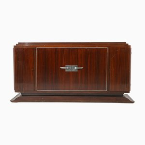 Vintage French Art Deco Sideboard in Macassar Wood and Chromed Aluminium, 1930s
