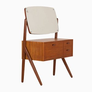 Danish Teak Y-Leg Vanity with Adjustable Mirror from Olholm Mobler, 1960s