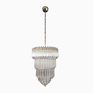 Murano Glass Chandelier with 112 Transparent Quadriedri, 1982