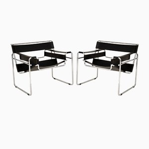 Vintage Leather & Chrome Wassily Armchairs by Marcel Breuer, 1960s, Set of 2