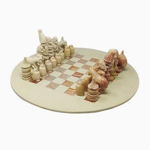 Mid-Century Italian Handmade Chess Set in Travertine, 1960s, Set of 33