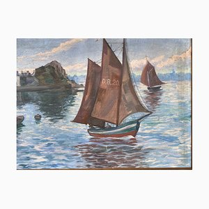 Vintage Painting Representing the Exit of the Port of Loguivy from the Sea by Bibal