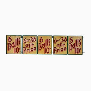 Small Vintage Painted Double Sided Fairground Signs, 1960s, Set of 5