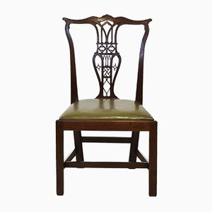Antique Georgian Chippendale Manner Mahogany & Leather Side Chair, 1800s