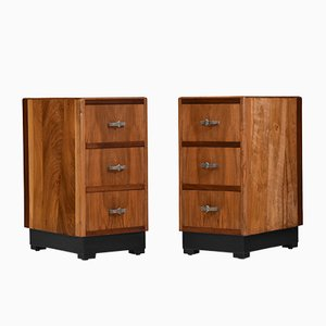 Art Deco Walnut Bedside Chest Side Cabinet Tables, 1930s, Set of 2