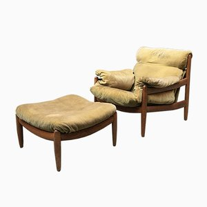 Danish Armchair with Footrest Covered in Green Fabric, 1960s, Set of 2