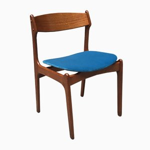 Danish Blonde Teak Chair with Raised Seat in Blue Velvet, 1960s