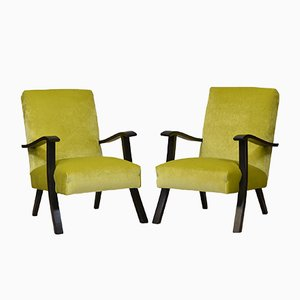 Mid-Century Lime Green Velvet Armchairs, 1950s, Set of 2