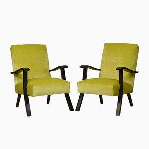 Mid-Century Sessel aus Lindgrünem Samt, 1950er, 2er Set