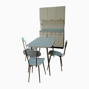 Kitchen Cupboard, Dining Chairs & Table by Salvarani, 1970s, Set of 6