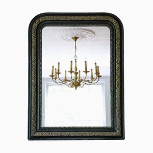 Large 19th Century Overmantle Wall Mirror Ebonized and Gilt Finish