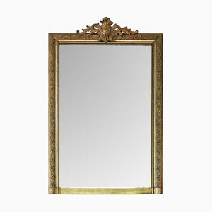Large 19th Century French Gilt Overmantle Wall Mirror