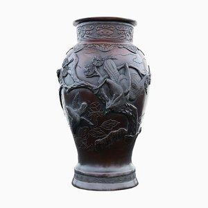 Antike japanische Bronze Vase aus der Meiji Periode