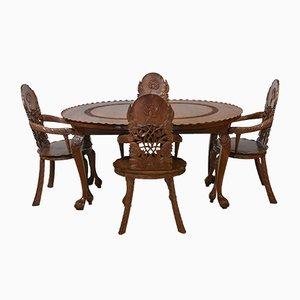 Tavolo da pranzo anglo indiano allungabile e poltrone a foglia di loto intagliate, anni '20, set di 5