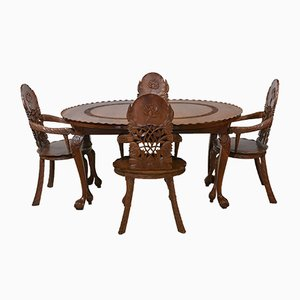 Vintage Anglo Indian Extending Dining Table & Carved Lotus Leaf Armchairs, 1920s, Set of 5