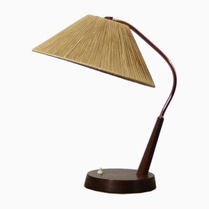 Lampe de Bureau Mid-Century en Teck et Sisal de Temde, 1950s