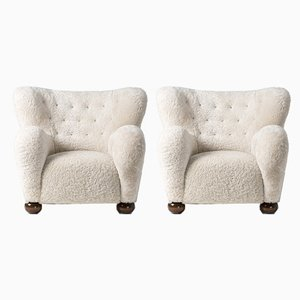 Sheepskin Lounge Chairs by Marta Blomstedt, 1938, Set of 2