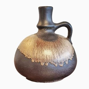 Brown Fat Lava Jug Vase by Dudas Laszlo for Ceramano, 1960s