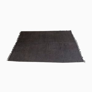 Vintage Turkish Minimalistic Solid Black Woolen Carpet, 1980s