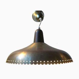 Lampada a sospensione Mid-Century in ottone di Bent Karlby per Lyfa, anni '60
