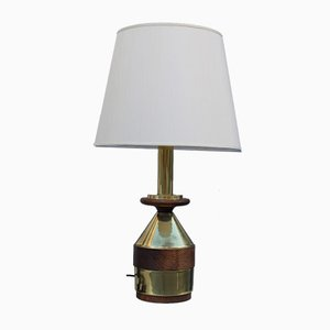 Italian Brass and Wood Table Lamp, 1970s