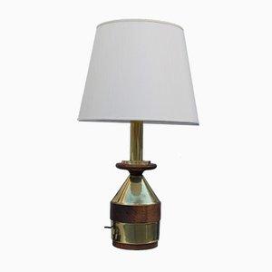 Lampada da tavolo in ottone e legno, Italia, anni '70