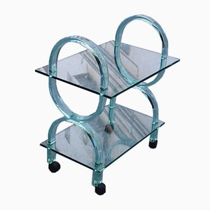 Italian Bar Trolley in Thickened Glass from Fiam, 1980s