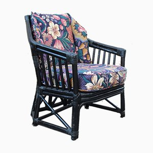 Italian Black Bamboo & Floral Fabric Lounge Chair from Vivai del Sud, 1970s