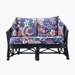 Italian Black Bamboo & Floral Fabric Sofa from Vivai del Sud, 1970s