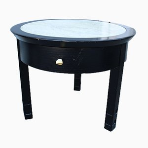 Italian Round Nightstands in Ebonized Chestnut & Carrara Marble, 1970s, Set of 2