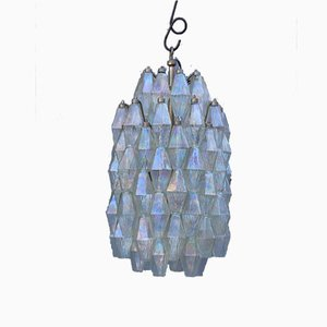 Italian Murano Iridescent Hourglass Polyhedron Chandelier from Venini, 1950s