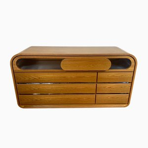 Italian Wood and Stainless Steel Chest of Drawers from Mario Sabot, 1970s