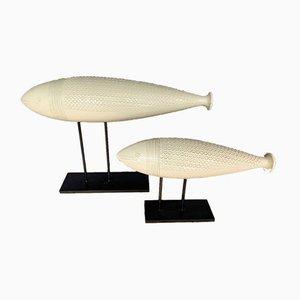 Italian Ceramic Decorative Sculpture Fishes, 1960s, Set of 2