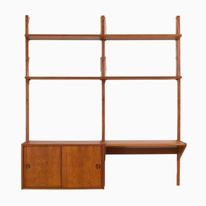 Vintage Danish Teak Wall Unit with Desk and Cabinet in the Style of Cadovius, 1960s