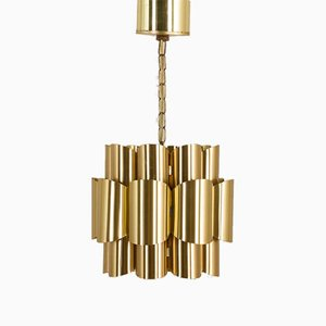 Vintage Brass Pendant Lamp by Werner Schou for Coronell Elektro, 1960s