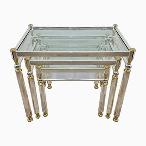 Gold & Silver Plated Nesting Tables with Glass Top by Orsenigo, 1970s