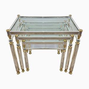 Tavolini ad incastro placcati in oro e argento con ripiano in vetro di Orsenigo, anni '70